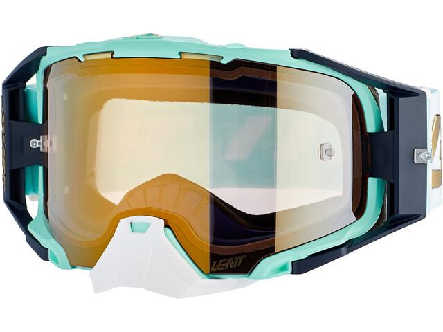 Leatt Velocity 6.5 Iriz Anti Fog Mirror Goggles, beige/Turquesa